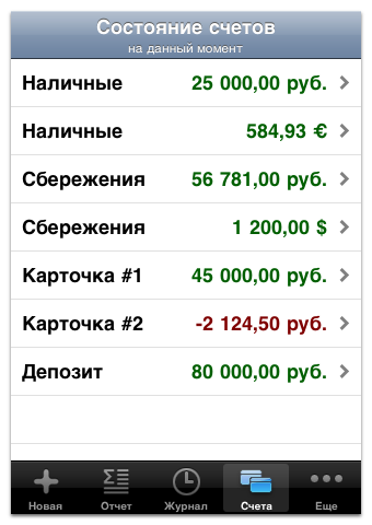 Account Balances screen