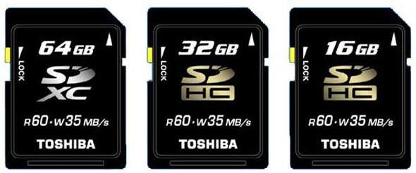 Toshiba представила первую в мире SDXC карту емкостью 64Гб